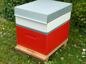 A Rentahive Red brood box with a cream honey box